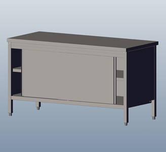 Cupboard-Tables: With Sliding Doors, without Wall-side Panel