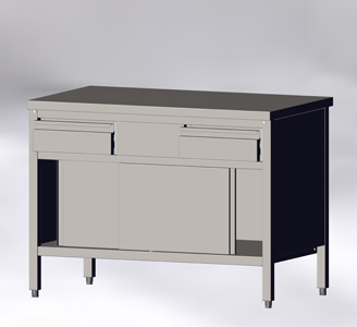 With Sliding Doors and Drawers, without Wall-side Panel