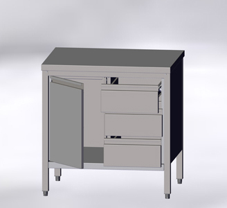 With Hinged Doors and Drawers, without Wall-side Panel