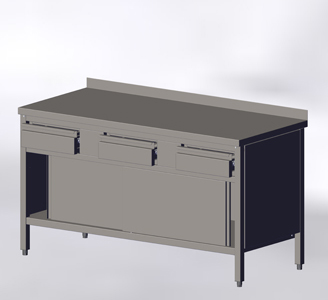 With Wall-side Panel, Sliding Doors and Drawers