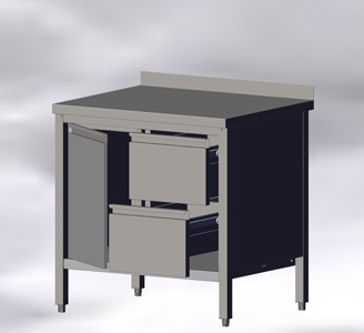 With Wall-side Panel, Hinged Doors and Drawers