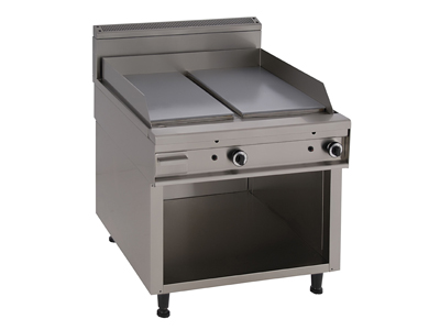 Gas Grill with a Smooth Hot Plate and Open Cupboard