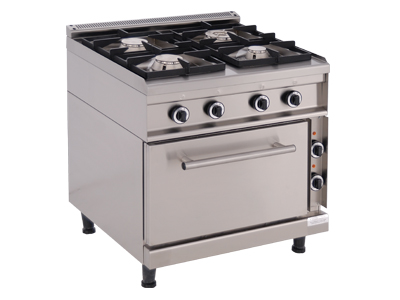 Gas Cooking Range with 4 Burners and an Electric Oven