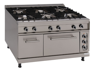 Gas Cooking Range with 6 Burners, an Electric Oven and Bain- Marie