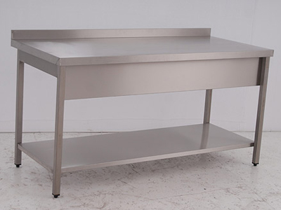 Work Table with Wall-side Panel and a Bottom Shelf