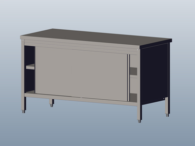 Cupboard-Table with Sliding Doors, without Wall-side Panel