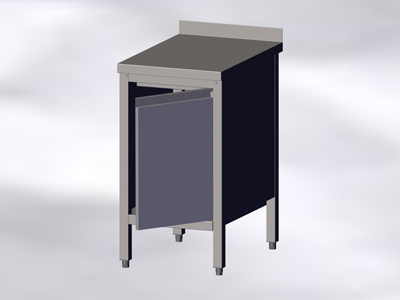 Cupboard Table With Wall Side Panel And A Right Hinged Door