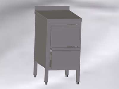 Cupboard-Table with Wall-side Panel and 2 Drawers