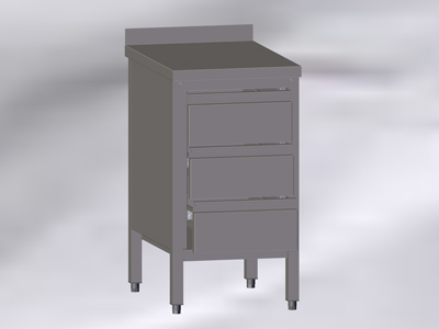 Cupboard-Table with Wall-side Panel and 3 Drawers