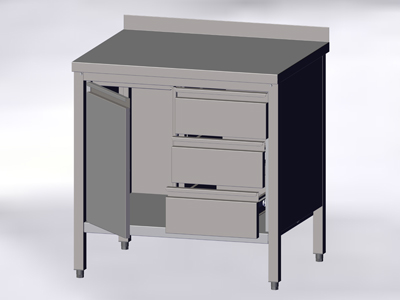 Cupboard-Table with Wall-side Panel, a Hinged Door and 3 Drawers
