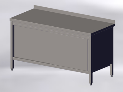 Cupboard-Table with Wall-side Panel and Sliding Doors