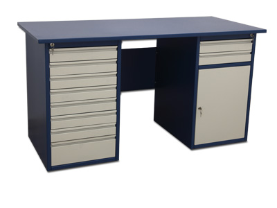 Table with 8 drawers on the left-hand side, 2 drawers and 2 shelves to the right