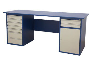 Table with 7 drawers on the left-hand side, 2 drawers and 2 shelves to the right