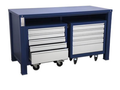 Table with 2 mobile containers with 5 drawers each